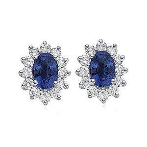 2.5 ct. Oval blue diamond stud earrings pair WG FG